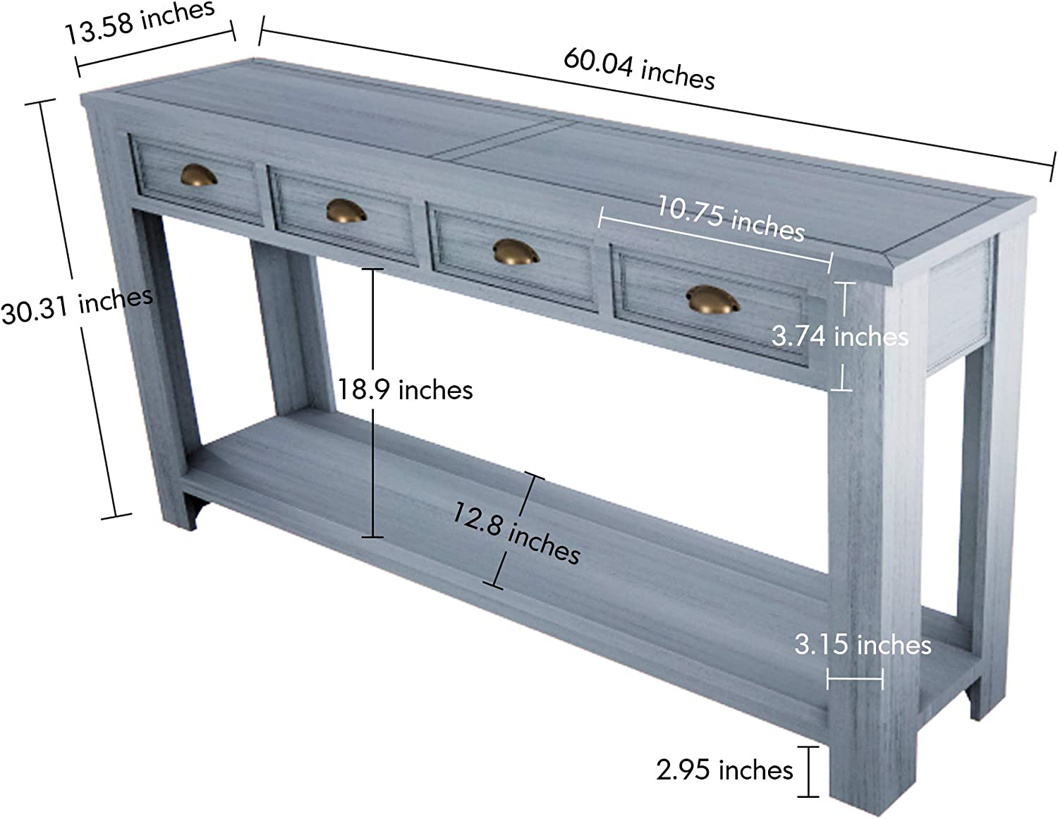 60, Retro Gray Oneinmil Console Table for Entryway Hallway Easy Assembly 60 Long Sofa Table with Drawers and Bottom Shelf