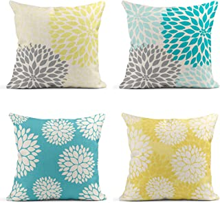 Tarolo Decorative Linen Throw Pillow Covers Cases Set of 4 Yellow Gray Pastel Blue Gray Trendy White Floral On Teal Turquoise Aqua Blue Lemon Yellow Floral Dahlia Pillow Cover Case 20x20 inches