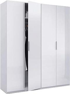 Habitdesign MAX054BO - Armario 4 puertas color Blanco Brillo medidas 200 x 180 x 52 cm de fondo