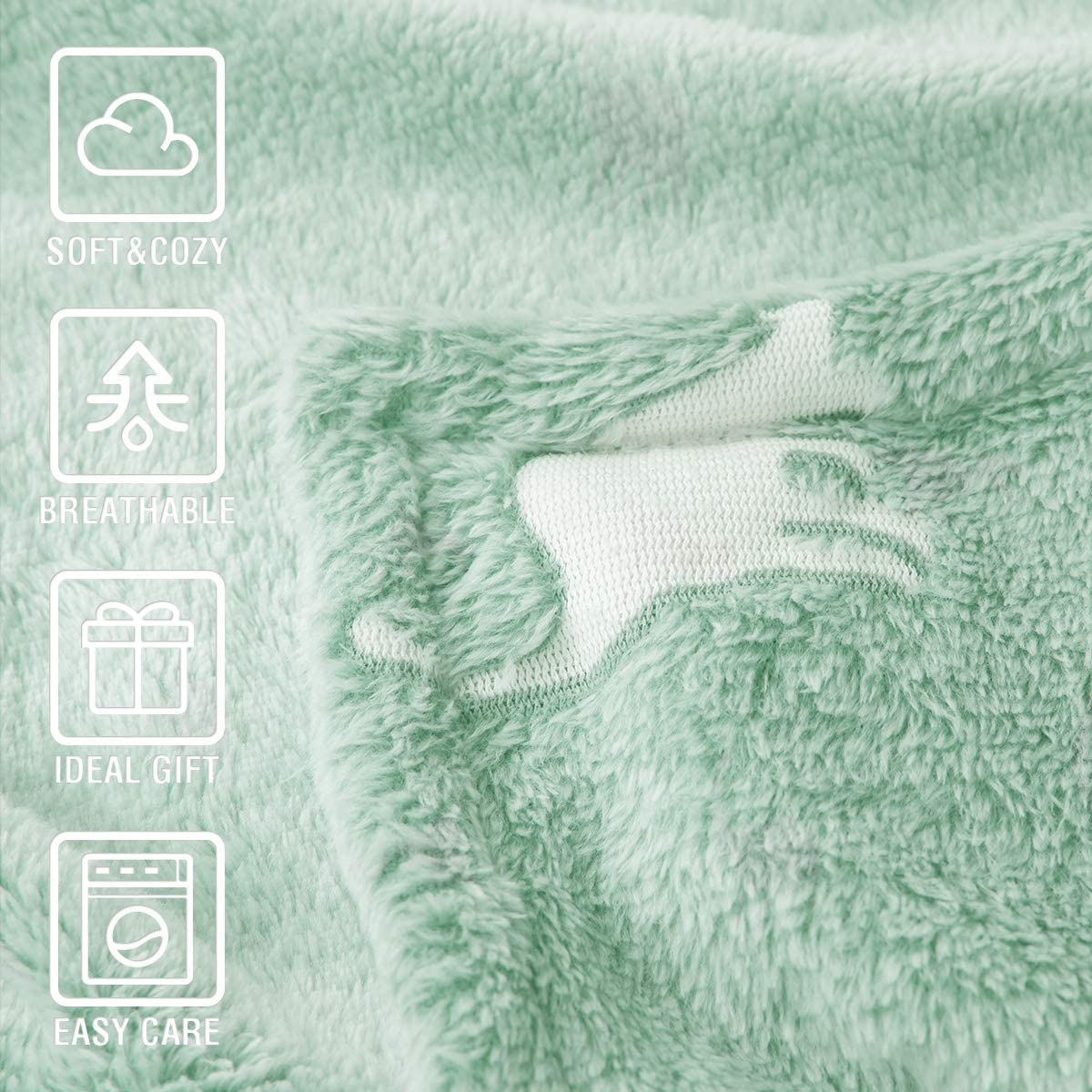 jinchan Dinosaur Throw Blanket Glow in The Dark Green Lightweight Flannel Fleece Throw Blankets for Nursery Couch Bed Magical Blankets All Seasons Gift for Girls Boys Baby Kids 50x60 Inch