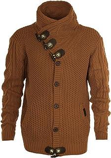 YUNY Men Plus-Size Turtleneck Knit Relaxed Slim Fit Warm Sweaters Grey 2XL