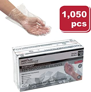SAFE HANDLER Disposable Food Handling Long Cuff Poly Gloves | One Size Fits Most, 0.65g, 11