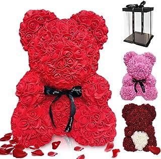 Regalo de Oso Rosa, ASANMU Oso de Flores Artificiales Oso de Peluche Rosa Creativo con Caja Oso Rosa Foam 25cm Regalos par...