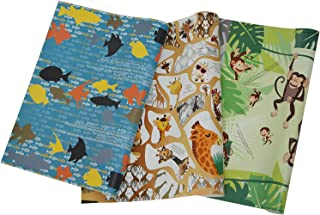 eVincE - thoughtful PRESENTations Assorted Designs Gift Wrapping Paper With Facts 3x2 assorted Animal Prints