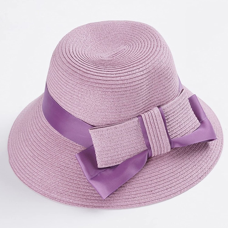 SUNNY MZ020 Sun Hat Straw HandMade Wide Edge Adjustable AntiUV Woman Girl Beach Outdoor Sun Hats Purple, Beige, bluee, Pink (color   Purple)