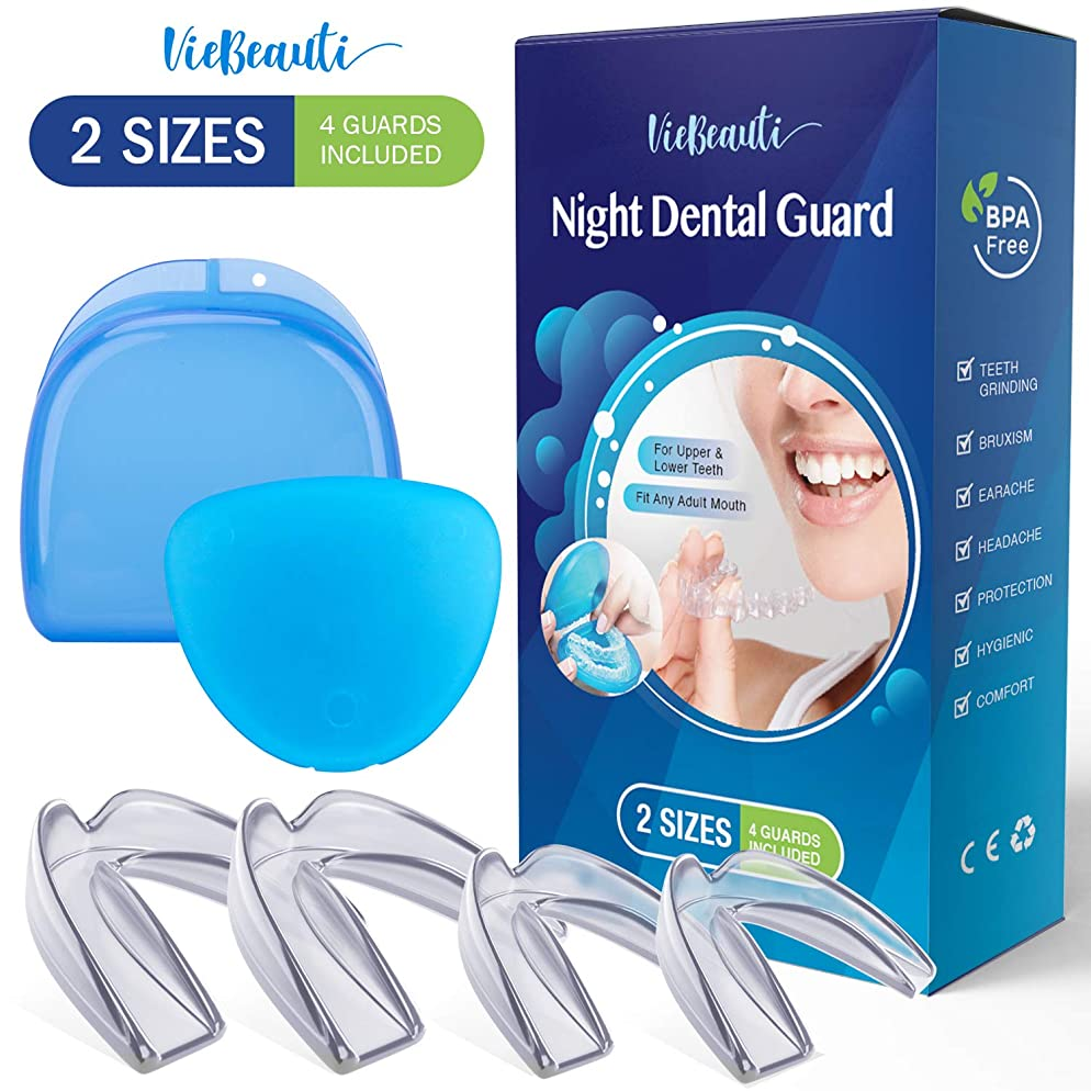 Mouth guard for grinding teeth BPA Latex Free Moldable Custom Dental Night Guards for teeth grinding, FDA Approved, Upper & Lower Teeth, 3-in-1 Multi-Purpose Teeth Whitening Tray Mouth Guard 2 Sizes