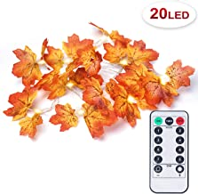 OMGAI Fall Maple Leaf String Light with Remote Control Timer, Waterproof Thanksgiving Decorations Battery Powered Lighted Garland for Holiday Party Indoor Outdoor (20LED)
