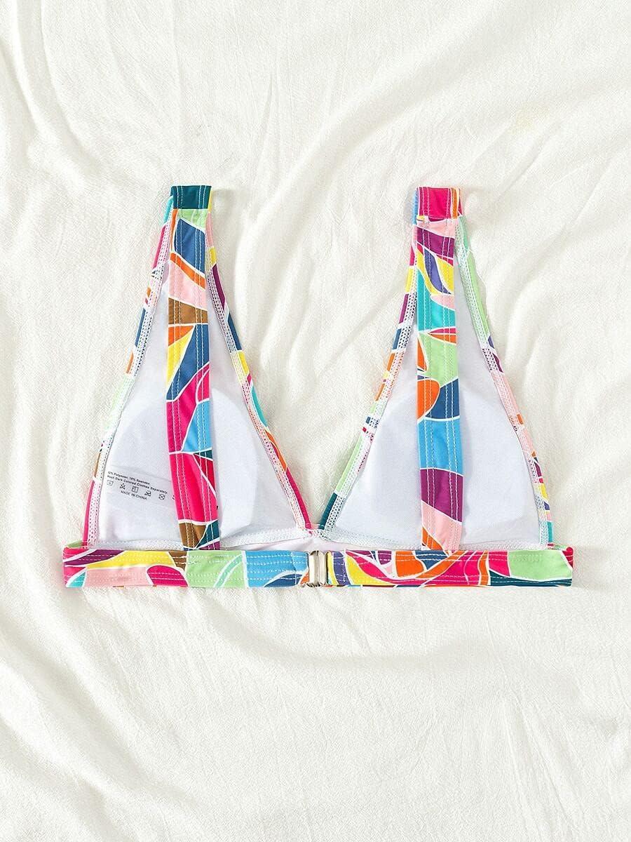 NICEAPR Bikini Color Bombing free shipping Block V Top Neck Multicolor unisex :