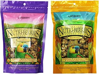 LAFEBER'S Nutri-Berries Parrot Food 2 Flavor Variety Sampler Bundle, (1) Each: Sunny Orchard with Cranberries Apricots Dat...