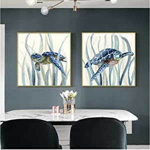 Canvas Poster Tortoise Fish Animal Painting Abstract Blue Wall Art Prints Living Room Home Decorative Picture-60x60cmx2 No Frame