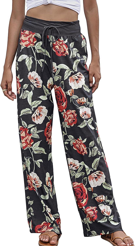 Lu's Chic Women's High Waisted Pants Long Palazzo Pants Casual Trousers Wide Leg Drawstring