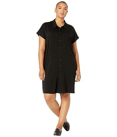 Eileen Fisher Plus Size Classic Collar Knee Length Dress (Black) Women