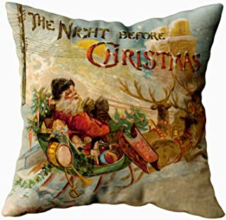 Capsceoll The Night Before Christmas Santa Sleigh Decorative Throw Pillow Case 16X16Inch,Home Decoration Pillowcase Zippered Pillow Covers Cushion Cover with Words for Book Lover Worm Sofa Couch