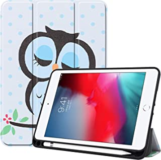 Tramako iPad Mini 5 Case 2019 with Pencil Holder, Premium Trifold Case with Strong Protection, Ultra Slim Soft TPU Back Cover with Auto Sleep/Wake Function(iPad Mini5, owl)