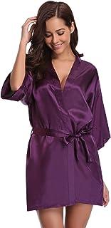 75a78e1b9a98b Aibrou Peignoir Satin Robe de Chambre Kimono Femme Sortie de Bain Nuisette  Déshabillé Vêtements de Nuit