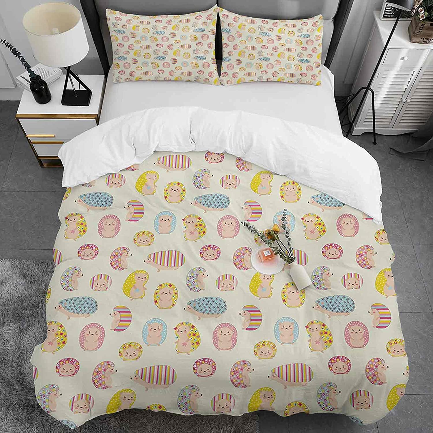 Max 42% High quality OFF Kids Duvet Cover Queen Size 100% Washed Hedgehog Cotton Pattern