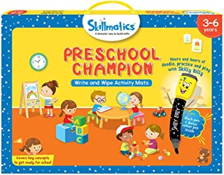 Skillmatics Educational Game: Preschool Champion (3-6 Years) | Erasable and Reusable Activity Mats with 2 Dry Erase Marker...