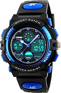 Fanmis Boys Analog Digital Sports Watch 24H Military Time Dual Time Quartz Waterproof LED Back Light with Simple Large Numbers 164ft 50M Water Resistant Calendar Day and Date Alarm Stopwatch Blue
