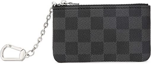 Miracle Checkered Zip Key Chain Pouch   Mini Coin Purse Wallet Card Holder with Clasp   PU Vegan Leather for Men Women (Black)
