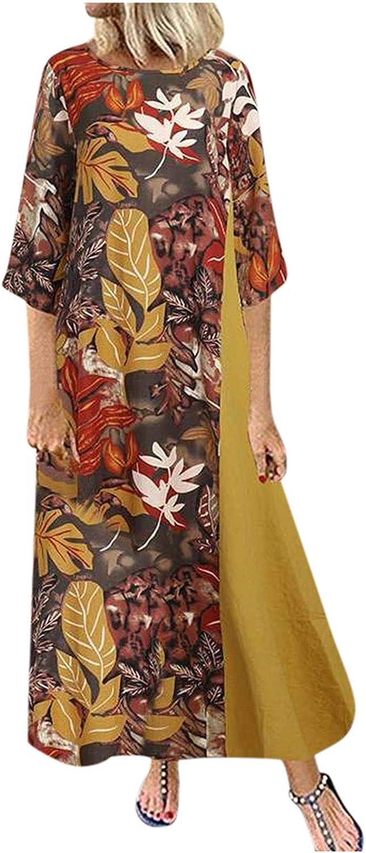 Women Bohemian Vintage Maxi Dress Elegant Cotton Plus Size Print Daily Casual Short Sleeve O Neck Long Cocktail Dress