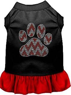 Mirage Pet Products 57-70 BKRDXS Candy Cane Chevron Paw Rhinestone Dog Dress, X-Small, Black with Red
