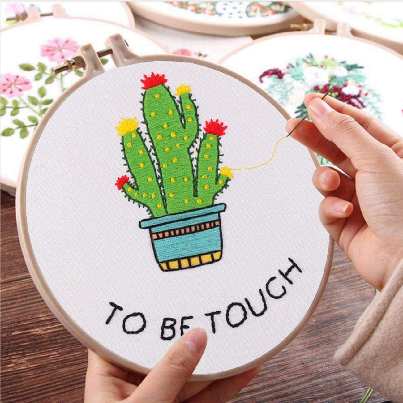 Nuberlic Embroidery Kit with Pattern Cactus Cross Stitch Starters Kit for Beginners Adults Needlepoint with Embroidery Hoop Cloth Needles Threads