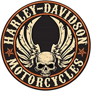HARLEY-DAVIDSON Embossed Flying Skull Button Round Tin Sign, 14 inch 2011281