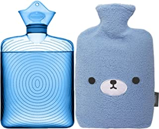 نمونه بطری آب گرم شفاف - کیسه آب 2 لیتری با پوشش پشم گوسفند ، آبی خرس