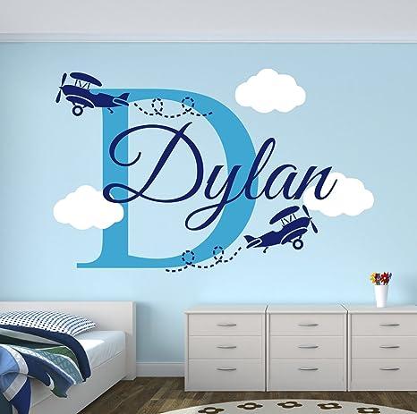 Adhesivo Decorativo Para Pared Con Nombre De Niño Diseño De Aviones Decoración De Habitación De Niños Nubes De Pared 40 X 20 H Baby