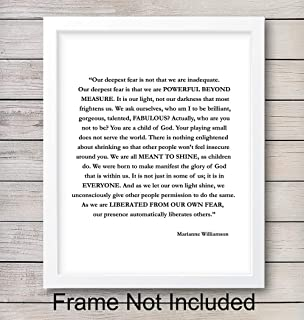 Marianne Williamson Deepest Fear Quote Wall Art Print - Perfect for Office and Home Decor - Makes a Great Affordable Gift - Inspirational and Motivational - Ready to Frame Photo (8X10)