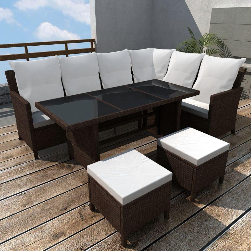 cangzhoushopping Set de Muebles de jardín 14 Piezas 8 Personas ratán PE marrón Mobiliario Mobiliario de Exterior Conjuntos de mobiliario de Exterior: Amazon.es: Hogar