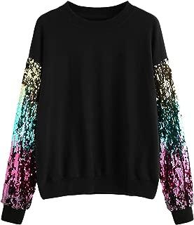 Women's Round Neck Sequin Contrast Long Sleeve Sweatshirt