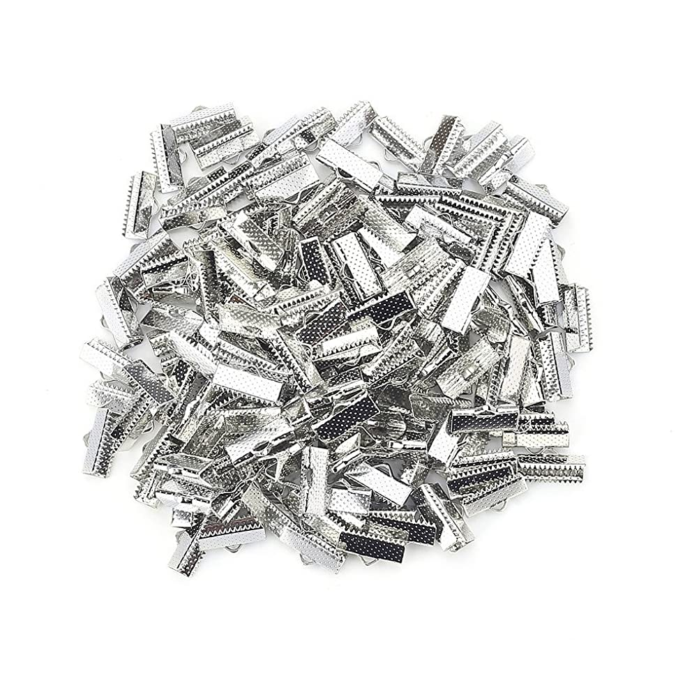 100PCS Silver Plated Ribbon Ends Fastener Clasps Textured Crimp End Clamps Cord Ends