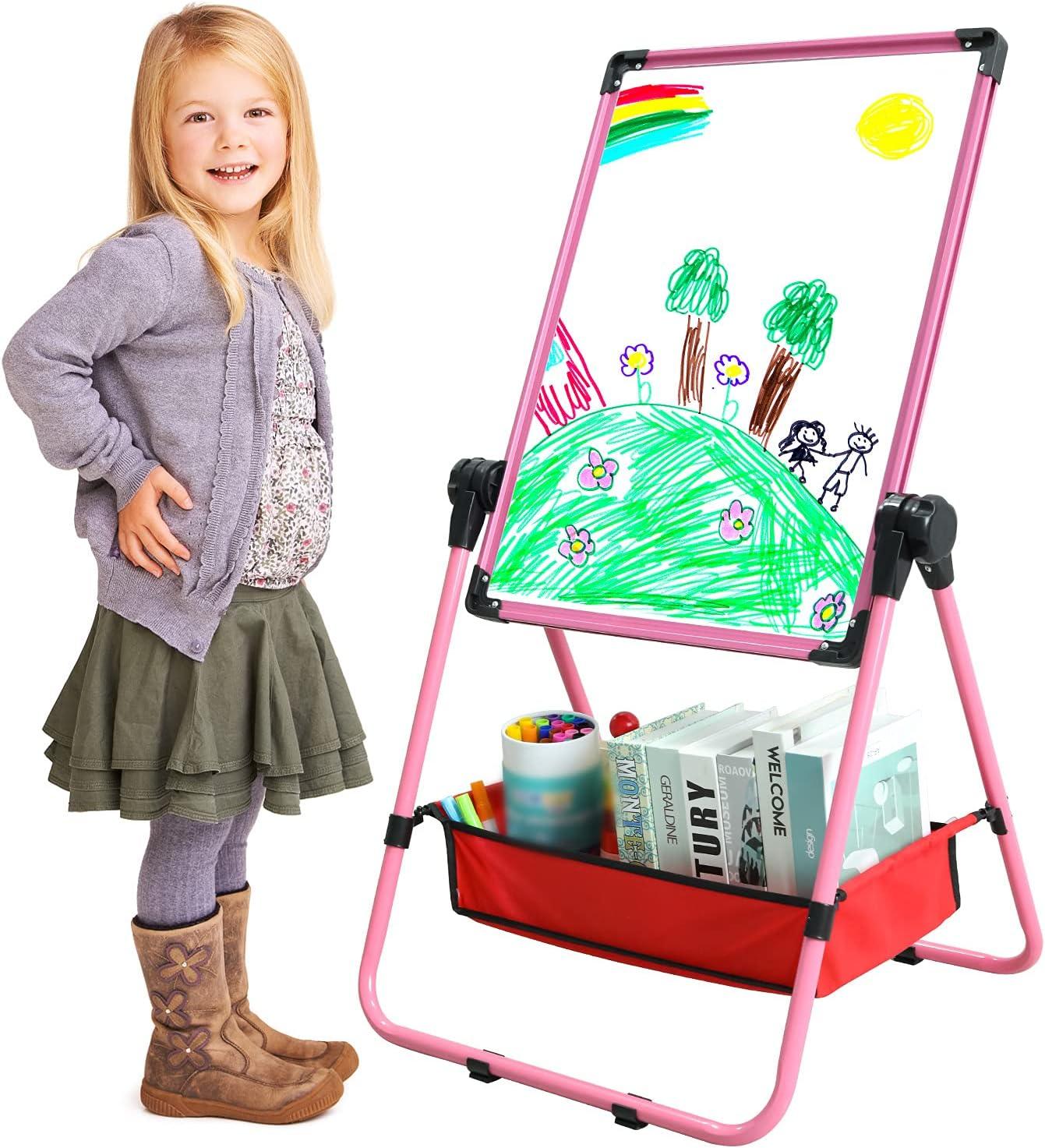 GEMEM Kids Art Easel Double Sided Whiteboard Chalkboard  Magnet
