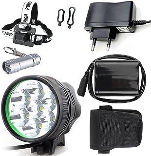 LED LUZ Linterna LáMPARA TORCH Cree 7X LED de bicicleta /bici lámpara Luz LED frontal luz de la bicicleta bicicletas (7 led, 3 modos) con 6x16850 batería y cargador & Llavero Linterna Torch