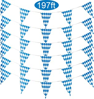 Alpurple 197 Feet Oktoberfest Bavarian Flag- 6 Packs Oktoberfest Bavarian Pennant Banner for German Oktoberfest Themed Party Decorations