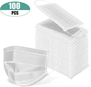 100 Pcs Disposable Surgical Flu Face Masks, 3-Ply Thicker Super Filter Pollen Dust, Anti Allergy Dental Medical Procedure Mask (White)