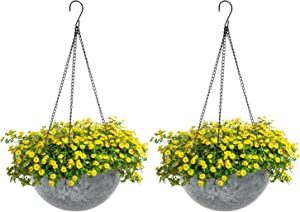 Hanging Planters, Alotpower 10 Inch Hanging Planters for Indoor Outdoor Planters, Garden Planter Pots with Hanging Chain (Rock Grey, 2 Pack)