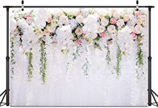 Bridal Shower Decoration White Flower Photo Backdrops Floral Wedding Cake Table Decoration Background Backdrops for Bridal Wedding Birthday Party Decoration 59(7x5)