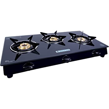 MILTON ISI Certified Premium 3 Burner Glass Top Manual LPG Stove with MS Frame and Brass Burners (Black, 75x42.5x13.5cm)
