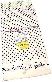 AllAsta Cotton Flour Sack Purple Blue Polka Dot Tea Kitchen Cloth Linen Towels Set of 2