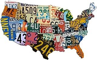 Metal USA Sign Aluminum USA License Plate Map (35