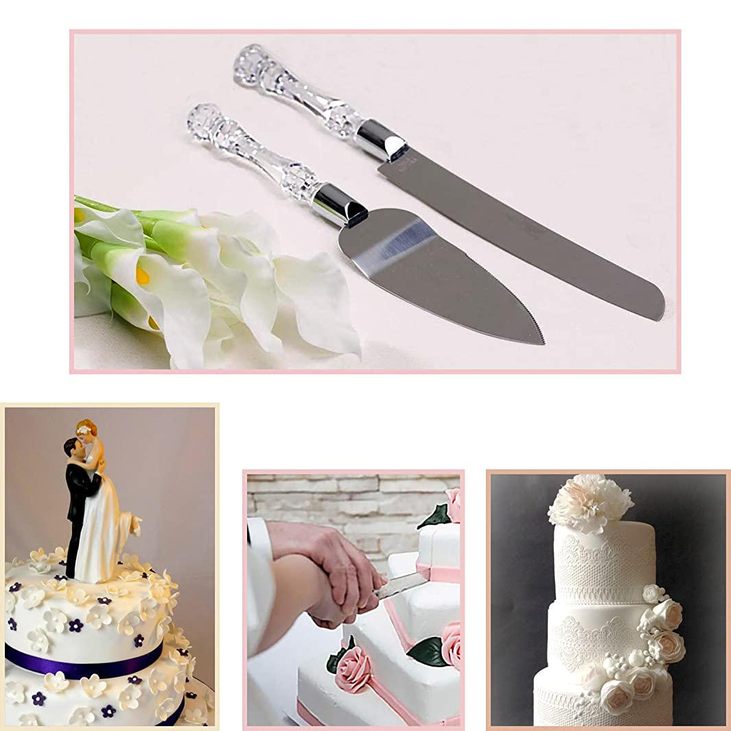 Adorox Wedding Cake Knife and Server Set Acrylic Stainless Steel Faux Crystal Handle