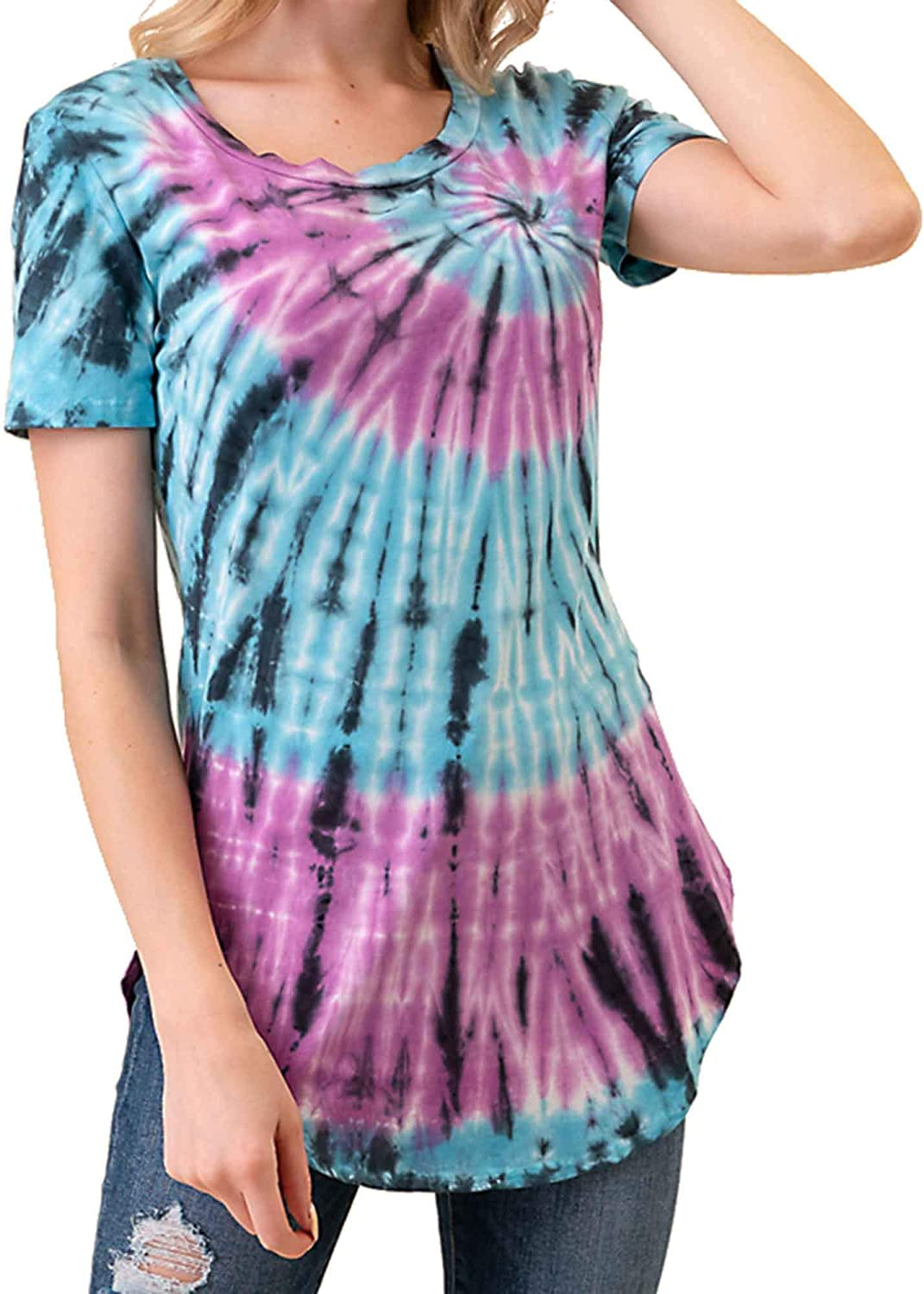 MINT PLUS PINK Women Casual Summer Tie Dye Tunic T-Shirt and Top//Womens Short Sleeve Blouses