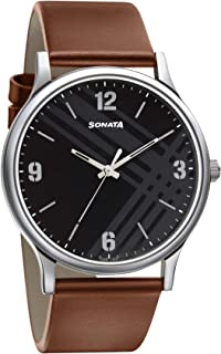 Sonata Smart Plaid Analog Black Dial Men's Watch-77105SL02