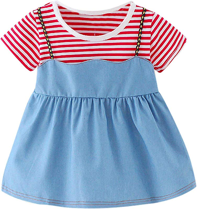 Ivyi Miniskirt Summer Girl Riped Fake Two Piece Cowboy Princess 6M 24M 19Apl10 Red 6M