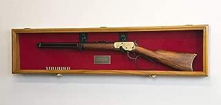 "1 Rifle Gun Display Case Cabinet Wall Rack Holder – 44.5"" Long Case - Lockable (Oak Finish - Red Felt)"