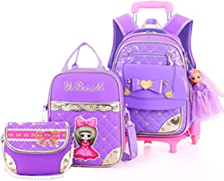 Waterproof 3Pcs Rolling Backpack for Girls with Lunch Bag Crossbody bag School Bags Wheeled Backpack