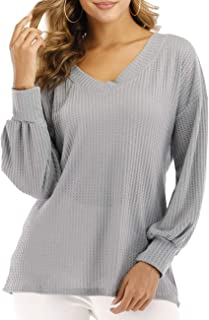 Women's Casual V-Neck Long Batwing Sleeve Tops Loose Waffle Knit Pullover Sweater