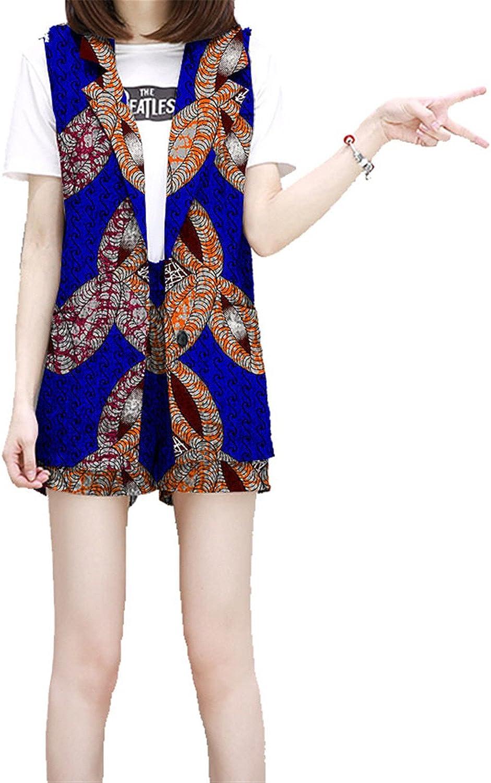 Carlos Foushee Print Women Suit+Short 2 Pieces Set Ladies Straight Shorts Leeveless Sleeve Suit Jacket Tailored